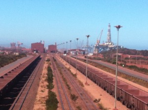 oild rigs and ore rail line saldanha bay